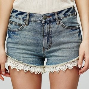 Free People Jean Shorts with crochet trim